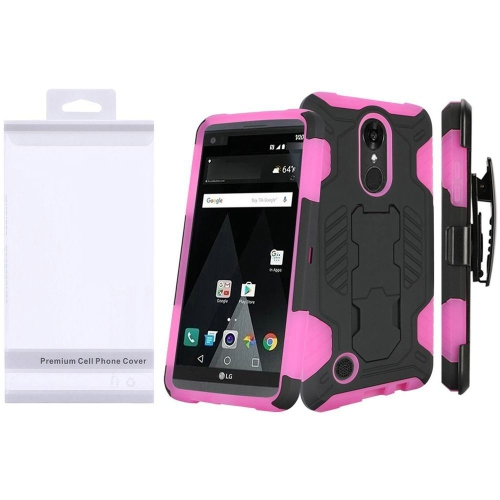 Insten Hard Hybrid TPU Case w/stand For LG Aristo/K8 (2017), Black/Hot Pink