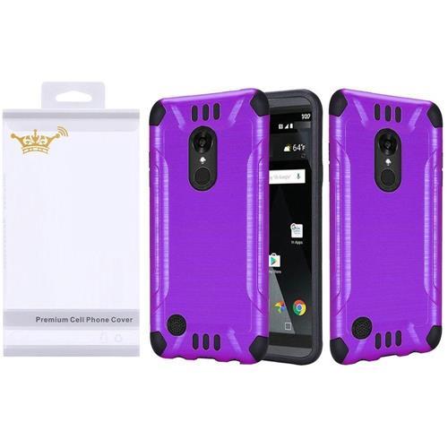 Insten Hard Dual Layer Rubberized Silicone Case For LG Aristo/K8 (2017), Purple