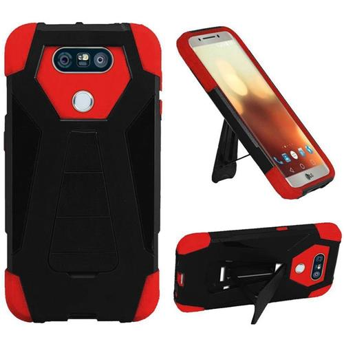 Insten Hard Dual Layer Plastic Silicone Cover Case w/stand For LG G6, Black/Red