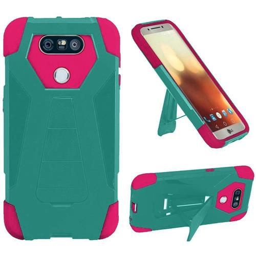 Insten Hard Hybrid Plastic Silicone Cover Case w/stand For LG G6, Teal/Hot Pink