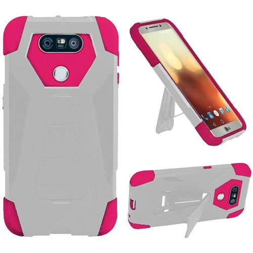 Insten Hard Hybrid Plastic Silicone Case w/stand For LG G6, White/Hot Pink