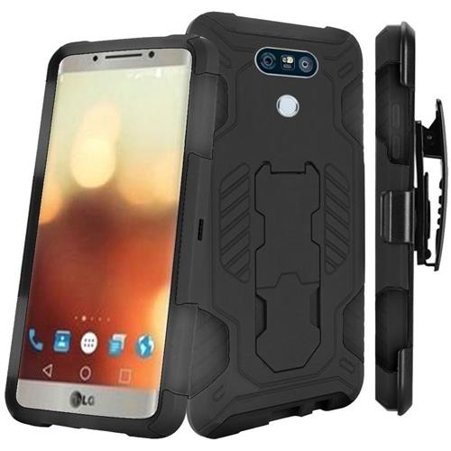 Insten Hard Hybrid Rubber Silicone Cover Case w/stand For LG G6, Black