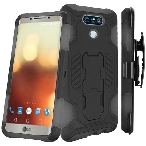 Insten Hard Hybrid Silicone Cover Case w/stand For LG G6, Black/Gray