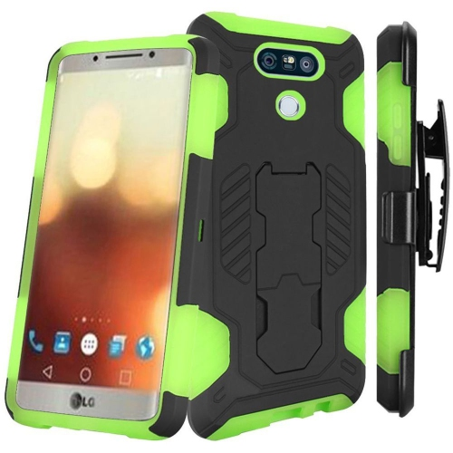 Insten Hard Dual Layer Silicone Case w/stand For LG G6, Black/Green