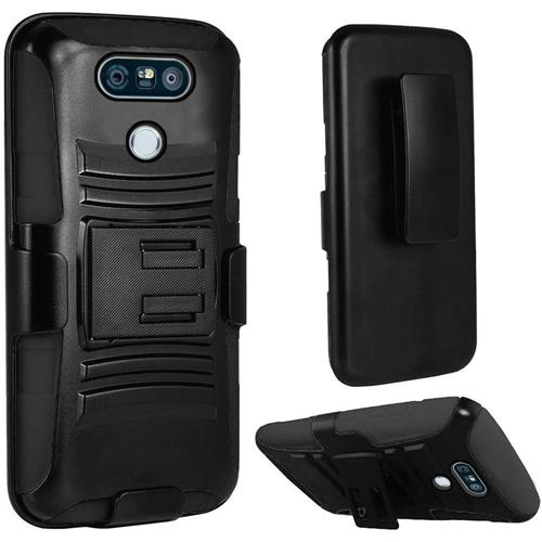 Insten Hard Dual Layer Plastic Silicone Cover Case w/Holster For LG G6, Black