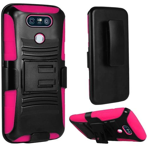Insten Hard Hybrid Plastic Silicone Cover Case w/Holster For LG G6, Black/Hot Pink
