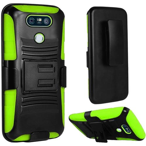 Insten Hard Dual Layer Plastic Silicone Case w/Holster For LG G6, Black/Green