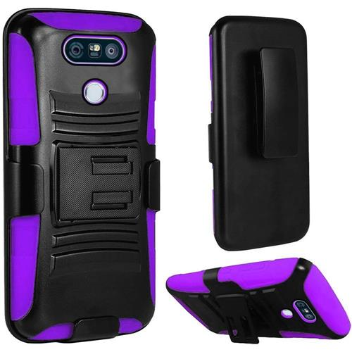 Insten Hard Hybrid Plastic Silicone Cover Case w/Holster For LG G6, Black/Purple
