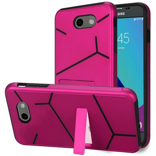 Insten Hard Dual Layer TPU Case w/stand For Samsung Galaxy J3 (2017), Hot Pink/Black