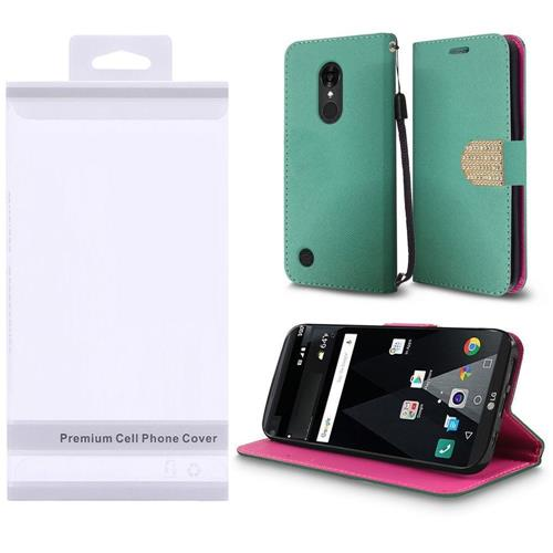 Insten Flip Leather Fabric Case w/stand/Photo Display/Diamond For LG Aristo/K8 (2017), Teal