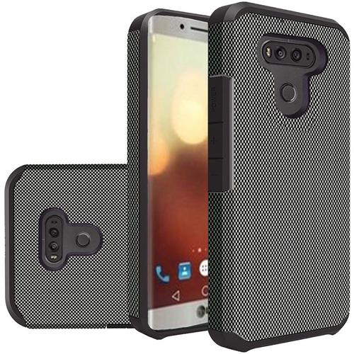 Insten Carbon Fiber Hard Dual Layer Silicone Case For LG G6, Black