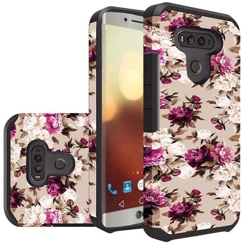Insten Roses Hard Hybrid Rubberized Silicone Cover Case For LG G6, Purple/White