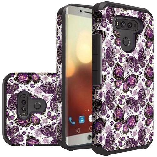 Insten Butterfly Flower Hard Hybrid Silicone Case For LG G6, Purple/White