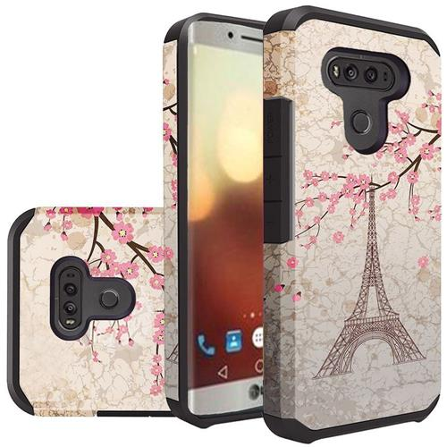 Insten Eiffel Tower Hard Dual Layer Rubber Coated Silicone Cover Case For LG G6, Pink/White