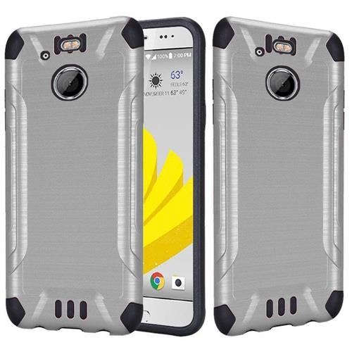 Insten Hard Dual Layer Rubber Coated Silicone Case For HTC 10 EVO / Bolt, Silver
