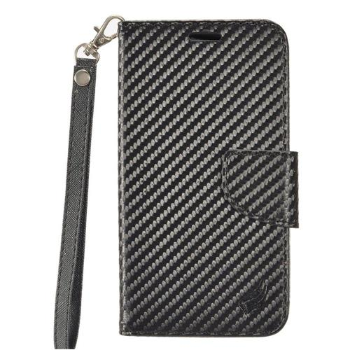 Insten Carbon Fiber Leather Case Lanyard w/stand/card slot For Samsung Galaxy S7 Active, Black