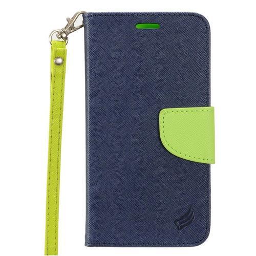 Insten Folio Leather Case Lanyard w/stand/card holder For Samsung Galaxy S7 Active, Dark Blue/Green