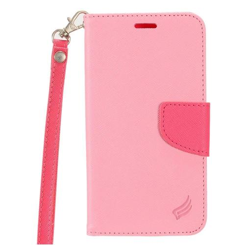Insten Folio Leather Case Lanyard w/stand/card holder For Samsung Galaxy S7 Active, Pink/Hot Pink