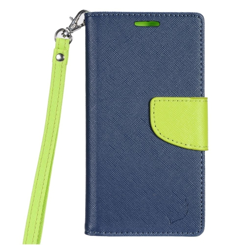Insten Book-Style Leather Fabric Case Lanyard w/stand/card slot For LG K3 (2016), Dark Blue/Green