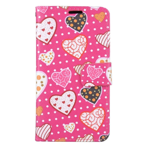 Insten Hearts Folio Leather Fabric Cover Case w/stand/card holder For LG K3 (2016), Hot Pink