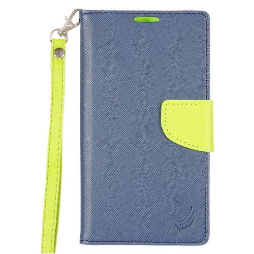 Insten Book-Style Leather Fabric Case Lanyard w/stand/card holder For LG Stylo 2 Plus, Blue/Green