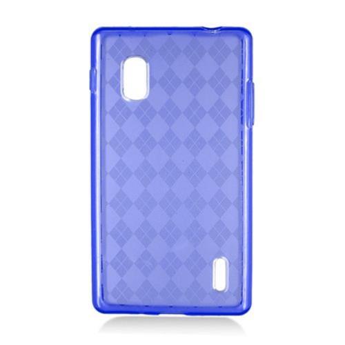 Insten Checker Gel Transparent Cover Case For LG Optimus G E970, Blue
