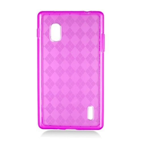 Insten Checker TPU Clear Cover Case For LG Optimus G E970, Hot Pink