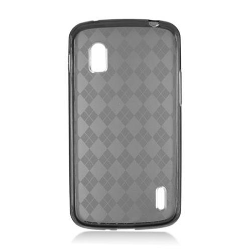 Insten Checker Rubber Transparent Cover Case For LG Google Nexus 4 E960, Smoke