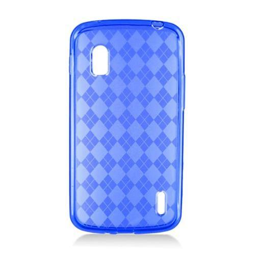 Insten Checker TPU Transparent Cover Case For LG Google Nexus 4 E960, Blue