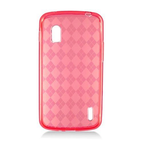 Insten Checker TPU Clear Cover Case For LG Google Nexus 4 E960, Red