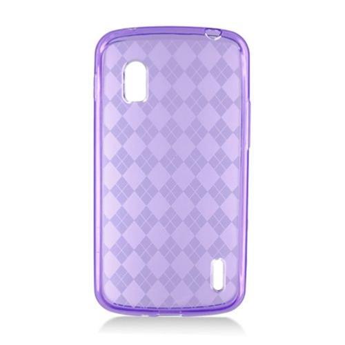Insten Checker TPU Transparent Case For LG Google Nexus 4 E960, Purple