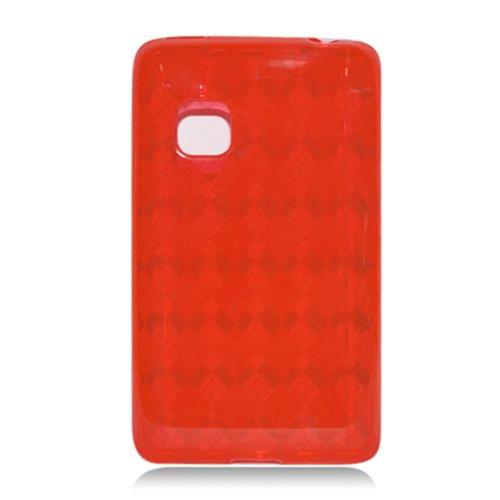 Insten Checker TPU Transparent Case For LG 840G, Red