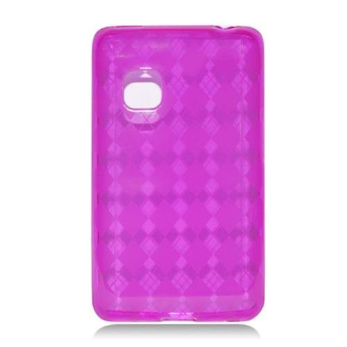 Insten Checker Gel Clear Case For LG 840G, Hot Pink