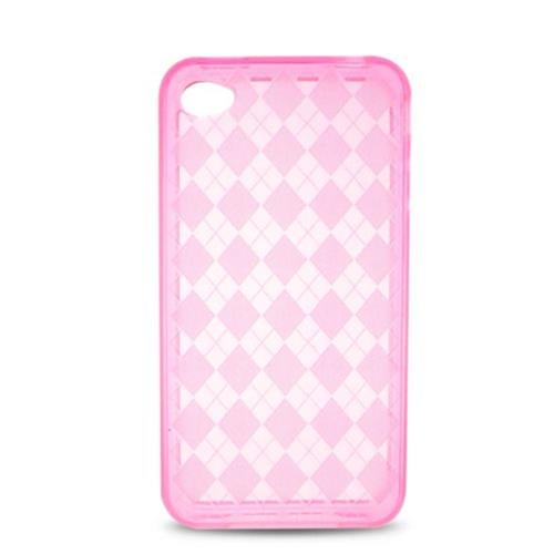 Insten Checker Rubber Transparent Cover Case For Apple iPhone 4, Hot Pink