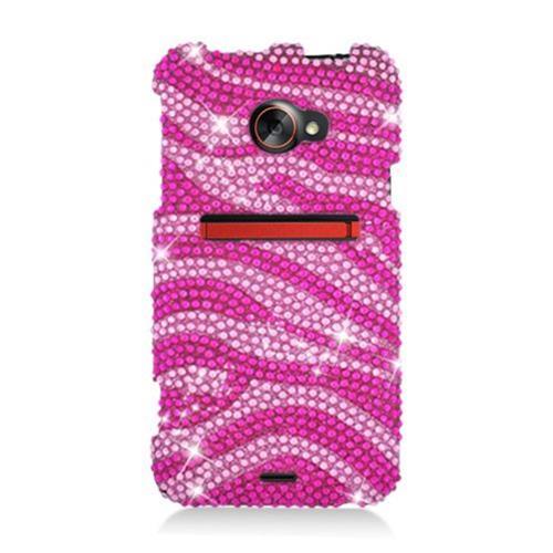Insten Zebra Hard Rhinestone Cover Case For HTC EVO 4G LTE, Hot Pink/Pink