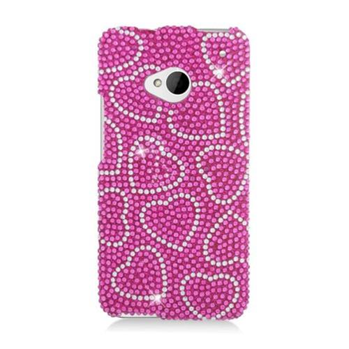 Insten Hearts Hard Diamond Cover Case For HTC One M7, Hot Pink