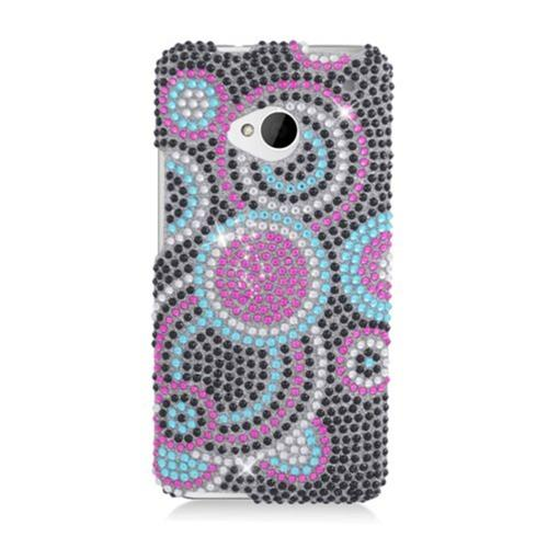 Insten Circles Hard Diamond Cover Case For HTC One M7, Black/Pink