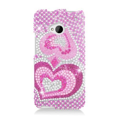 Insten Hearts Hard Rhinestone Case For HTC One M7, Hot Pink