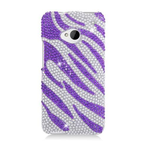 Insten Zebra Hard Bling Cover Case For HTC One M7, Purple/Silver