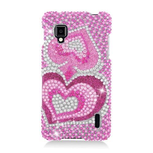 Insten Hearts Hard Bling Case For LG Optimus G LS970 Sprint, Hot Pink