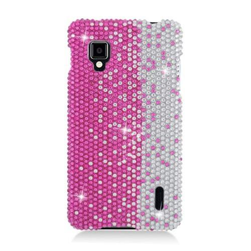 Insten Hard Bling Cover Case For LG Optimus G LS970 Sprint, Hot Pink/Silver