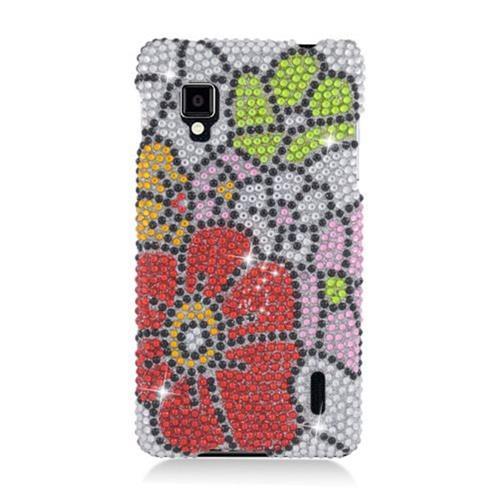 Insten Flowers Hard Rhinestone Case For LG Optimus G LS970 Sprint, Red/Green