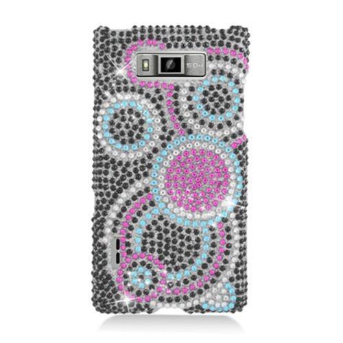 Insten Circles Hard Diamond Cover Case For LG Splendor US730 / Venice LG730, Black/Pink