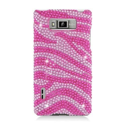 Insten Zebra Hard Diamante Case For LG Splendor US730 / Venice LG730, Hot Pink/Pink