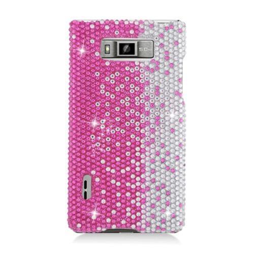 Insten Hard Rhinestone Case For LG Splendor US730 / Venice LG730, Hot Pink/Silver