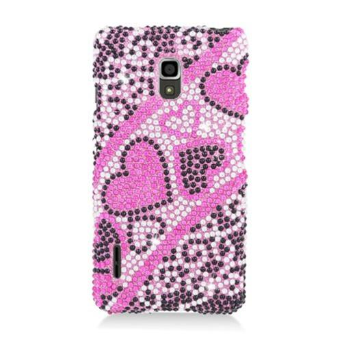 Insten Hearts Hard Bling Cover Case For LG Optimus F7 US780 (US Cellular), Hot Pink