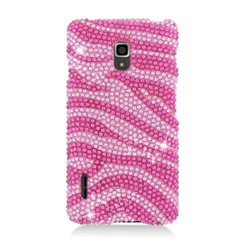 Insten Zebra Hard Rhinestone Cover Case For LG Optimus F7 US780 (US Cellular), Hot Pink/Pink