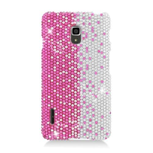 Insten Hard Rhinestone Cover Case For LG Optimus F7 US780 (US Cellular), Hot Pink/Silver