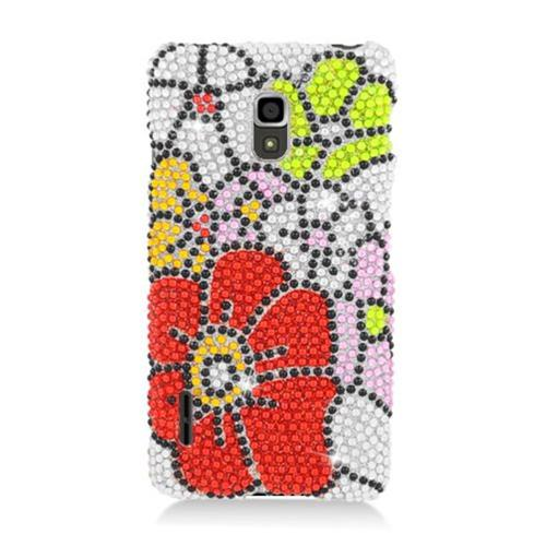 Insten Flowers Hard Bling Case For LG Optimus F7 US780 (US Cellular), Red/Green