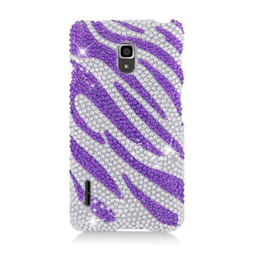 Insten Zebra Hard Bling Cover Case For LG Optimus F7 US780 (US Cellular), Purple/Silver